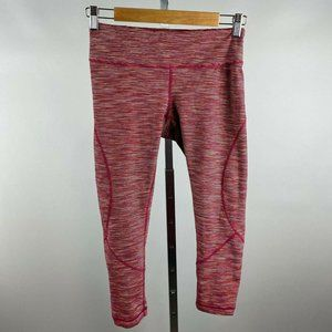 Zella Pink Colorful Striped Cropped Active Legging